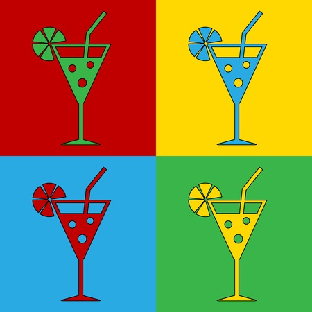andy warhol: Pop art cocktail glass symbol icons. Vector illustration. Illustration