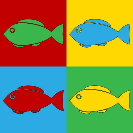 andy: Pop art fish symbol icons. Vector illustration.