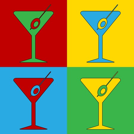 andy: Pop art martini glass symbol icons. Vector illustration.