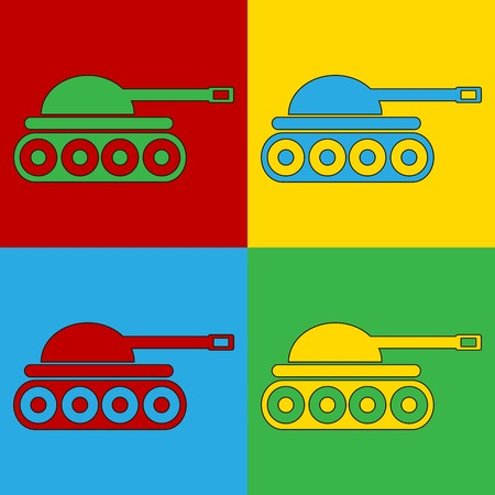 andy: Pop art panzer symbol icons. Vector illustration.