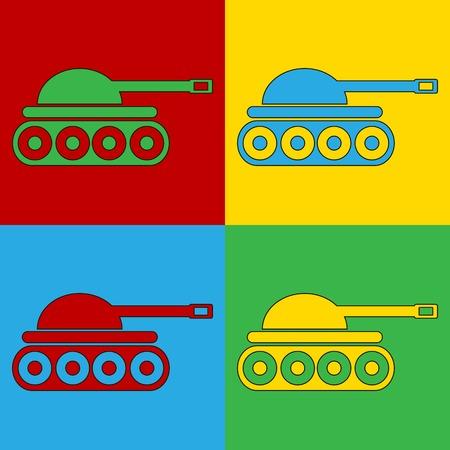 andy warhol: Pop art panzer symbol icons. Vector illustration.