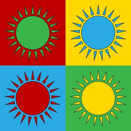 andy warhol: Pop art sun symbol icons. Vector illustration.