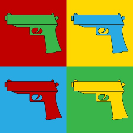 andy warhol: Pop art gun symbol icons.. Vector illustration.