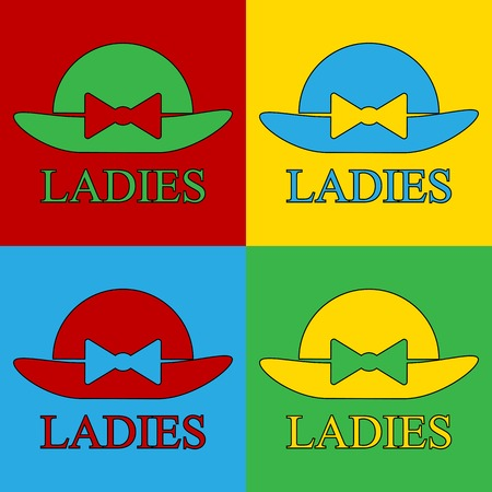 warhol: Pop art female hat symbol icons. Vector illustration.
