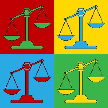 Pop art scale symbol icons. Vector illustration.