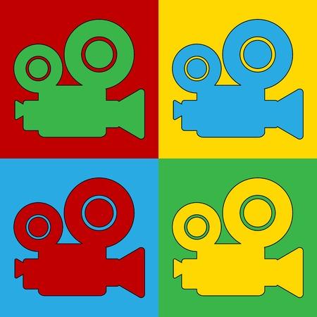 andy warhol: Pop art camera symbol icons. Vector illustration.