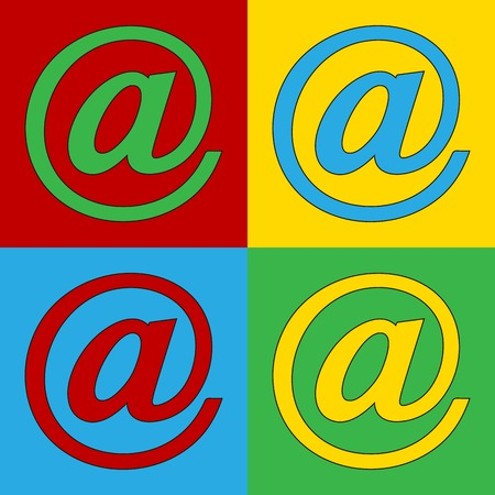 Pop art email symbol icons. Vector illustration.