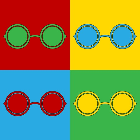 Pop art glasses symbol icons. Vector illustration.