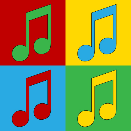 andy warhol: Pop art music symbol icons. Vector illustration. Illustration