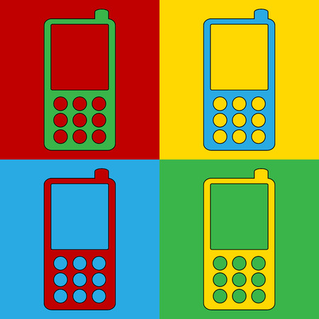andy: Pop art phone symbol icons. Vector illustration.