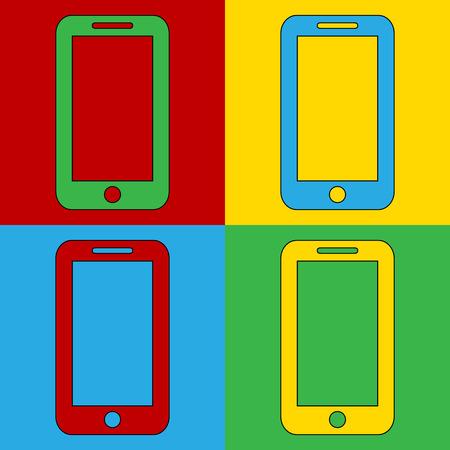 andy warhol: Pop art phone symbol icons. Vector illustration.