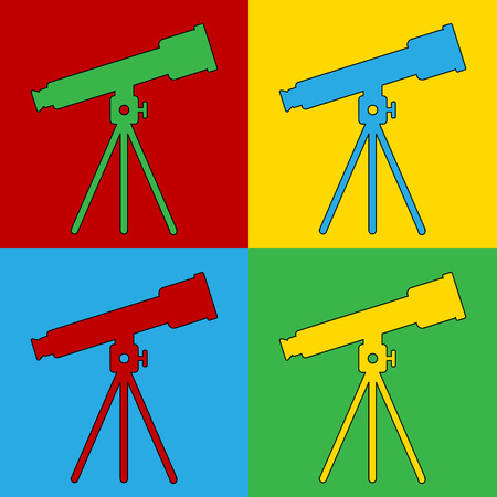 warhol: Pop art telescope symbol icons. Vector illustration.
