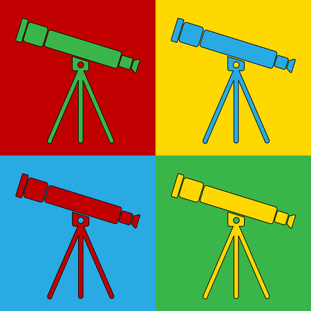 andy: Pop art telescope symbol icons. Vector illustration.