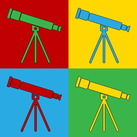 andy warhol: Pop art telescope symbol icons. Vector illustration.