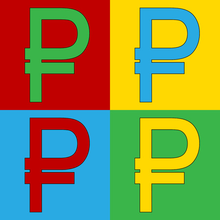 warhol: Pop art russian ruble symbol icons. Vector illustration. Illustration