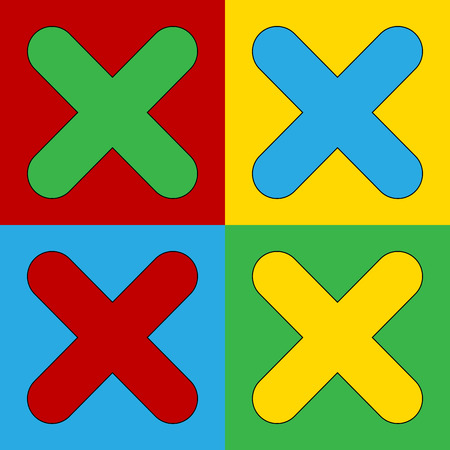 warhol: Pop art delete symbol icons. Vector illustration. Illustration