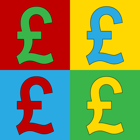 andy warhol: Pop art pound symbol icons. Vector illustration.