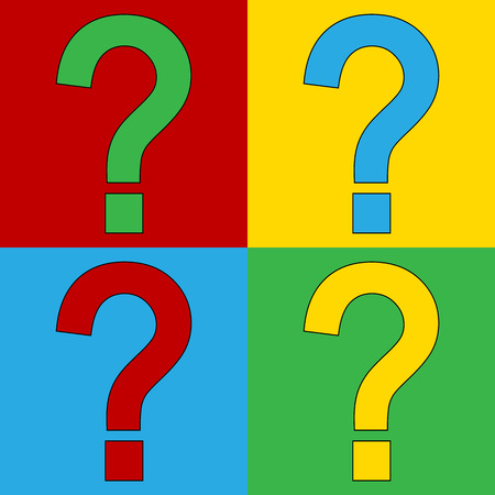 andy: Pop art question symbol icons. Vector illustration.