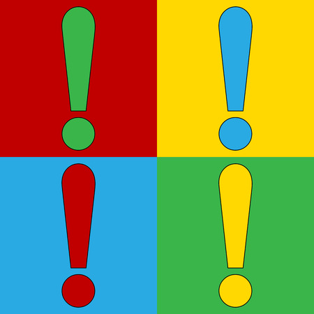 andy warhol: Pop art exclamation mark symbol icons. Vector illustration.
