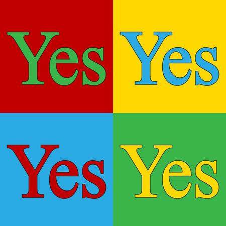 andy: Pop art yes symbol icons. Vector illustration. Illustration