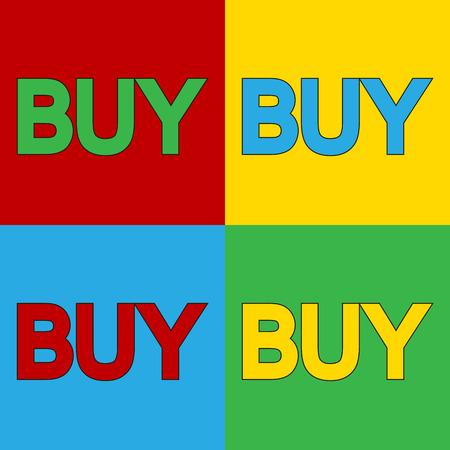 andy warhol: Pop art buy symbol icons. Vector illustration.