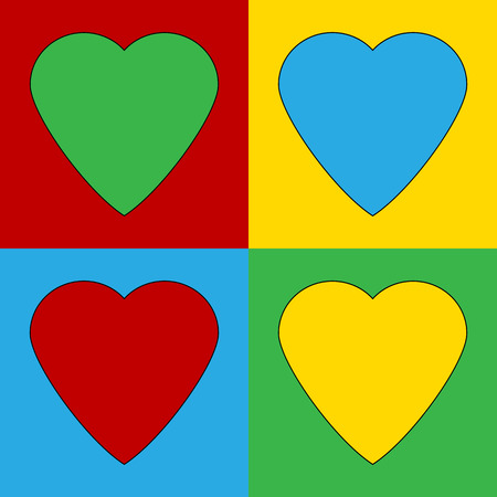 warhol: Pop art heart symbol icons. Vector illustration. Illustration