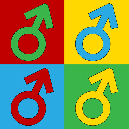 andy: Gender male symbol button on white background. Vector illustration.