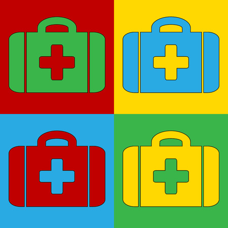 andy: Pop art first aid symbol icons. Vector illustration.