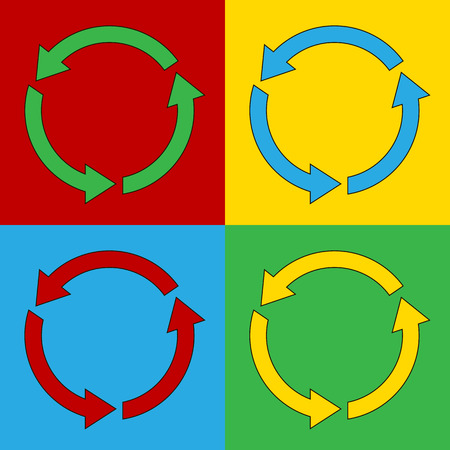 warhol: Pop art arrows circle symbol icons. Vector illustration.