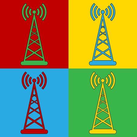 cellular repeater: Pop art transmitter symbol icons. Vector illustration.