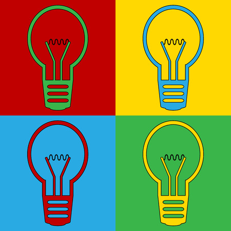warhol: Pop art light bulb symbol icons. Vector illustration.