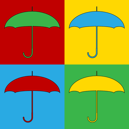 Pop art umbrella symbol icons. Vector illustration.