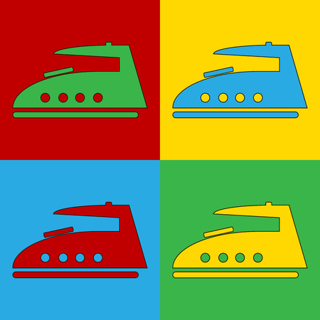 warhol: Pop art steam iron symbol icons. Vector illustration.