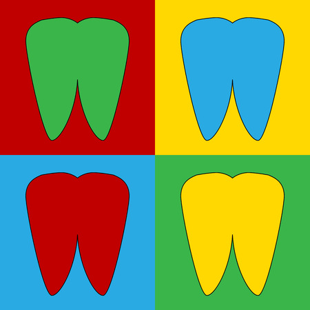 andy warhol: Pop art tooth symbol icons. Vector illustration.