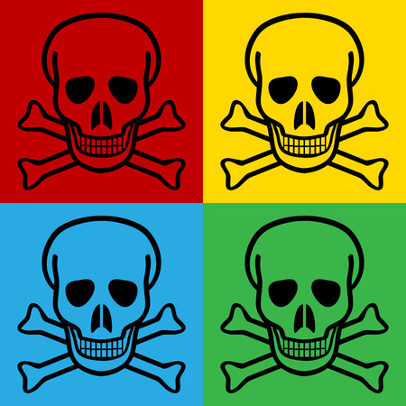 terribly: Pop art skull and bones danger sign symbol icons. Vector illustration.