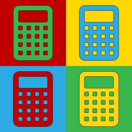 Pop art calculator symbol icons. Vector illustration. Vector