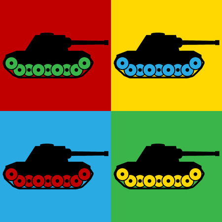 turret: Pop art panzer symbol icons. Vector illustration.