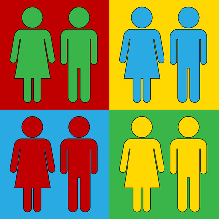 genders: Pop art male and female symbol icons. Vector illustration.