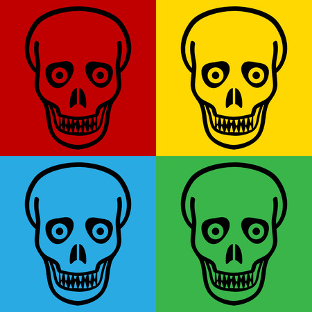 cannibal: Pop art zombie symbol icons. Vector illustration. Illustration