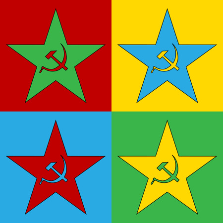 communism: Pop art communism star symbol icons. Vector illustration.