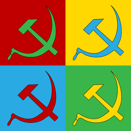 sickle: Pop art hammer and sickle symbol icons. Vector illustration.