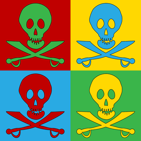 terribly: Pop art Jolly Roger symbol icons. Vector illustration.