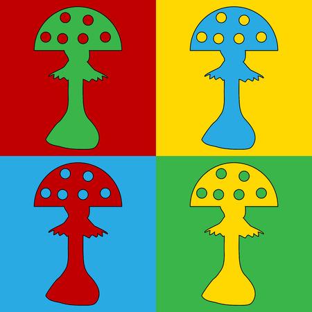 spores: Pop art amanita symbol icons. Vector illustration. Illustration