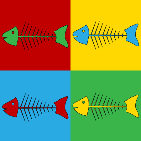 fishy: Pop art skeleton of fish symbol icons. Vector illustration. Illustration