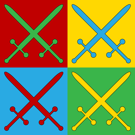 longsword: Pop art crossed swords symbol icons. Vector illustration. Illustration
