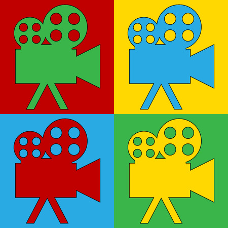 warhol: Pop art camera symbol icons. Vector illustration.