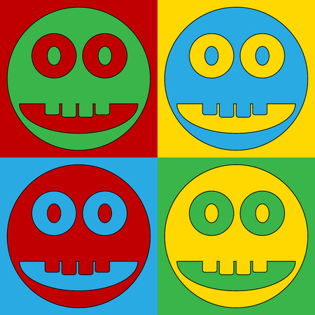 friendliness: Pop art smile face circle symbol icons. Vector illustration.