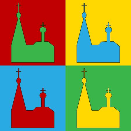 cupola: Pop art orthodox church symbol icons. Vector illustration. Illustration