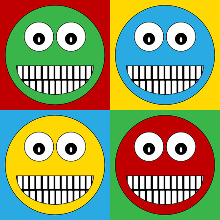 friendliness: Pop art smile face symbol icons. Vector illustration. Illustration