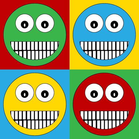 trato amable: Pop art sonrisa iconos s�mbolo de la cara. Ilustraci�n del vector. Vectores
